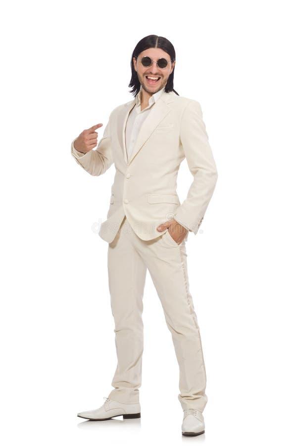 Hombre en concepto divertido aislado en blanco imagen de archivo