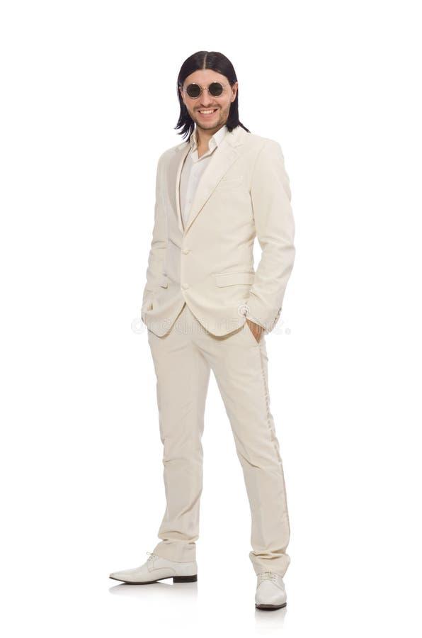 Hombre en concepto divertido aislado en blanco imagenes de archivo