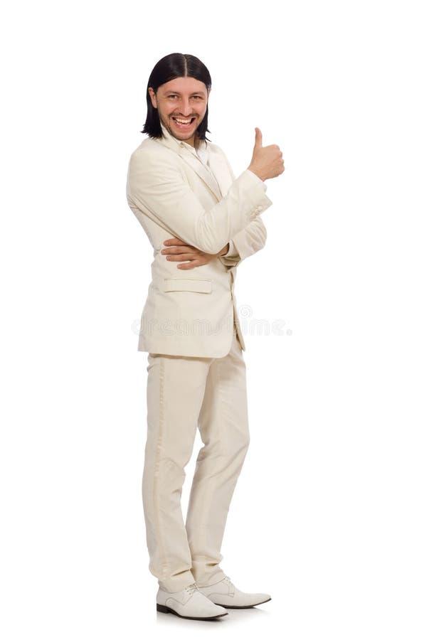 Hombre en concepto divertido aislado en blanco fotografía de archivo libre de regalías