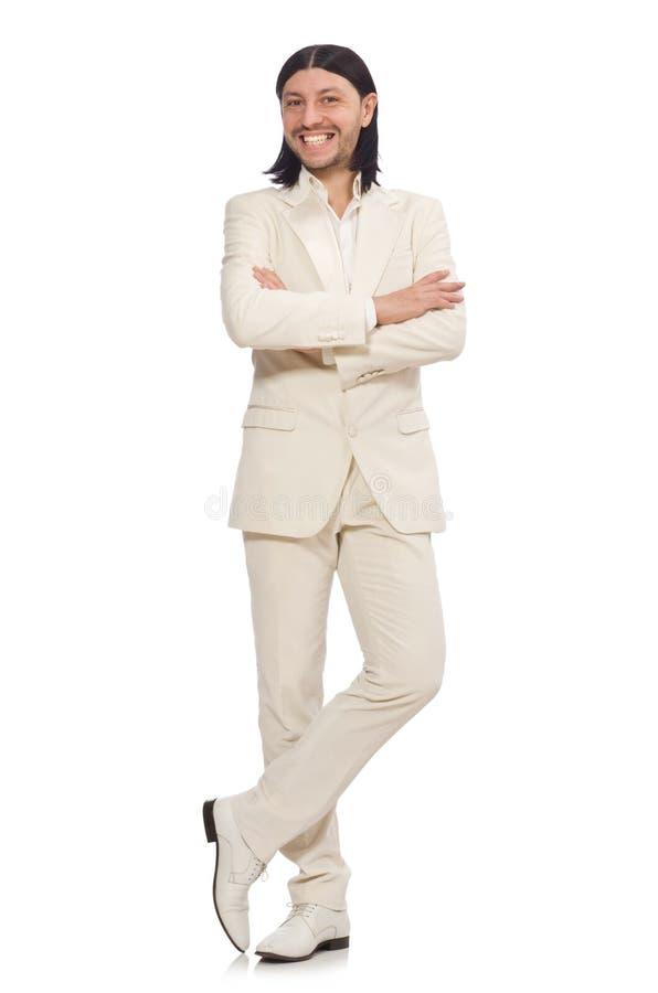 Hombre en concepto divertido aislado en blanco imagen de archivo libre de regalías