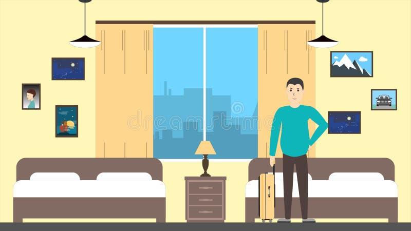 Hombre en cuarto de motel libre illustration