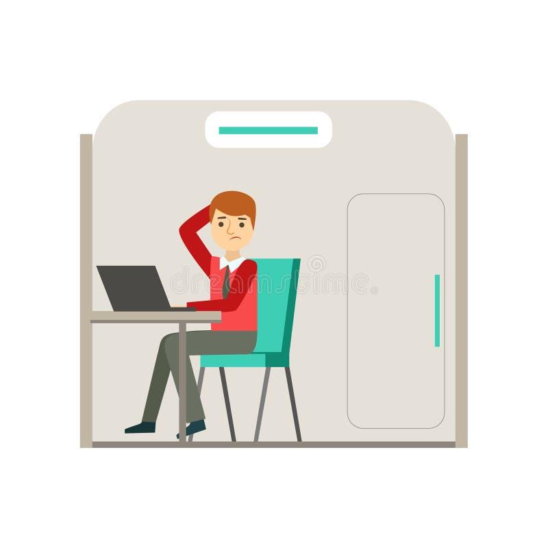 Hombre en cubículo desconcertado con el problema, Coworking en atmósfera informal en el ejemplo moderno de Infographic de la ofic stock de ilustración