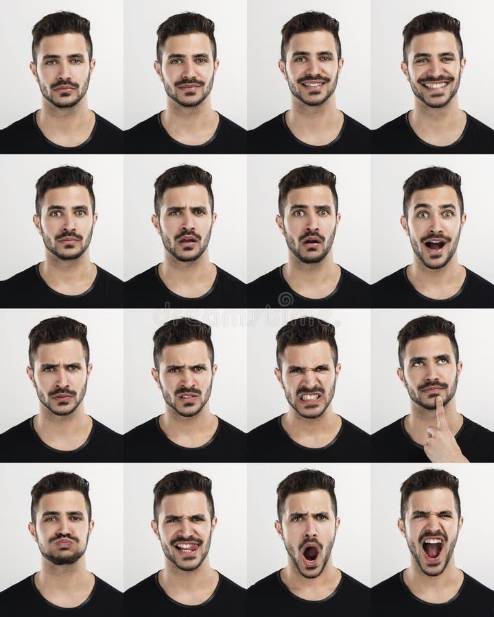 Hombre en diversos humores fotos de archivo