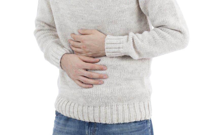 Hombre en dolor de estómago foto de archivo
