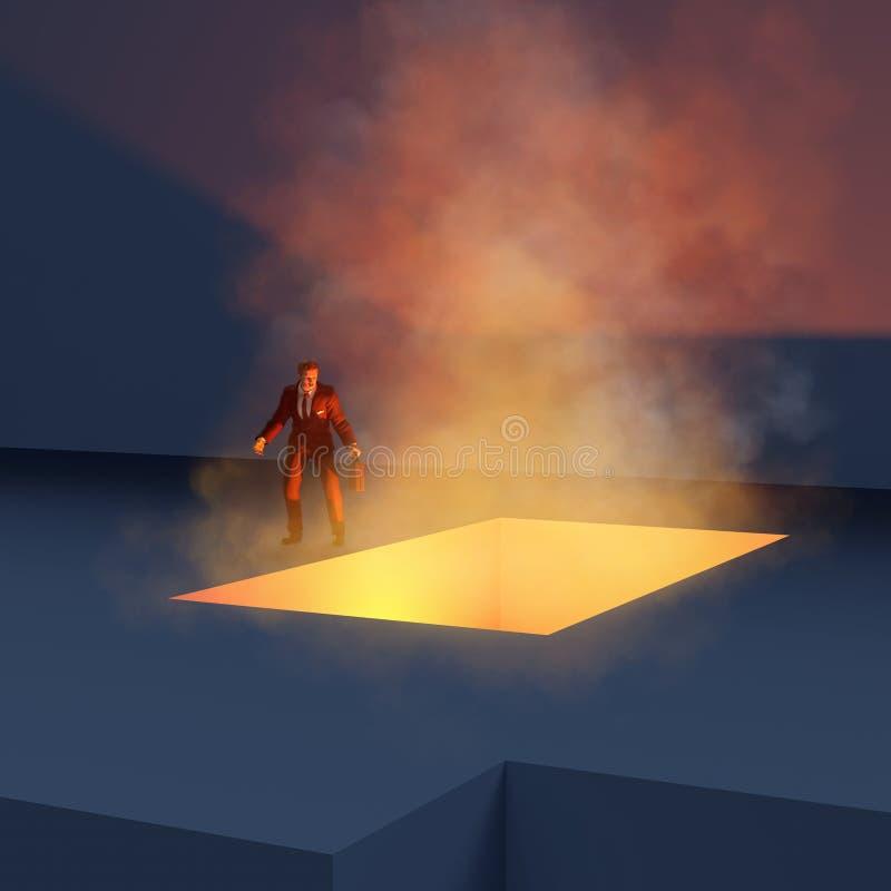 Hombre en el abismo ardiente del borde ilustración del vector