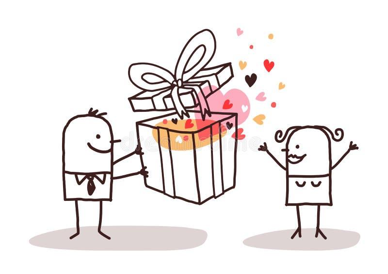 Hombre en el amor que da un presente a una mujer ilustración del vector
