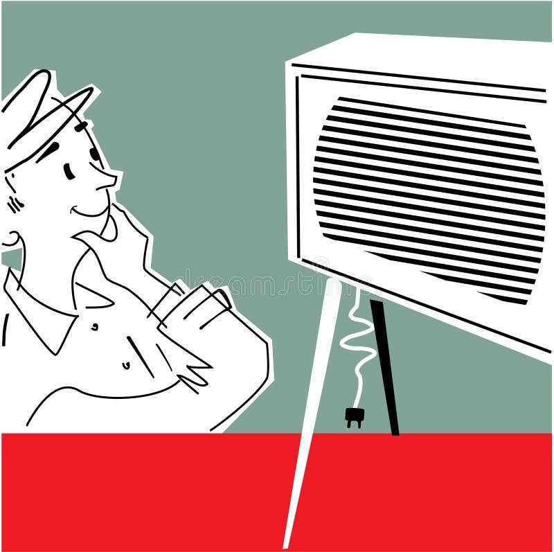 Hombre en el aparato de TV libre illustration
