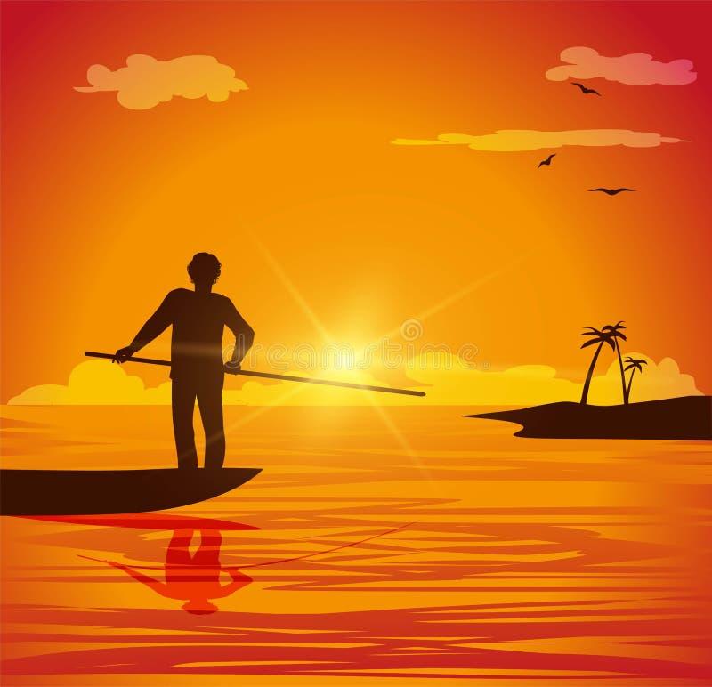Hombre en el bote pequeño stock de ilustración