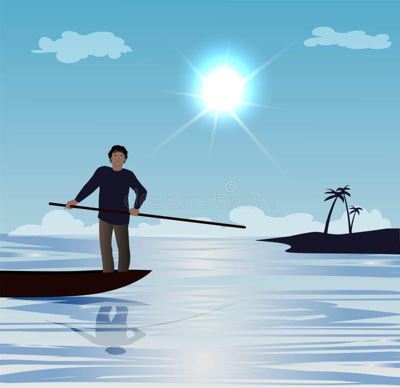 Hombre en el bote pequeño ilustración del vector