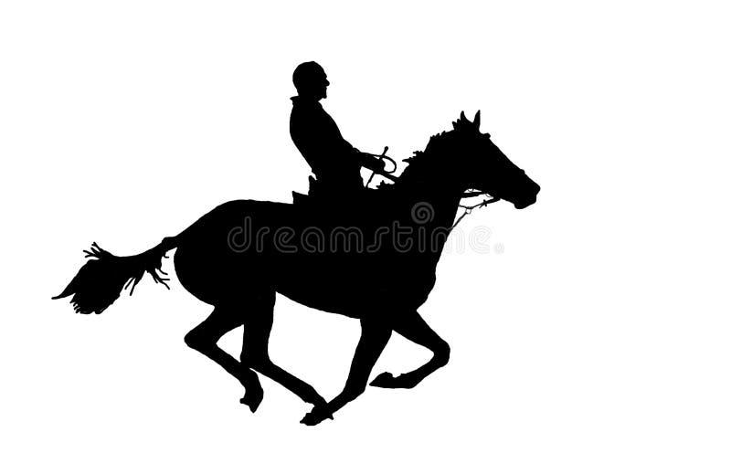 Hombre en el caballo. stock de ilustración