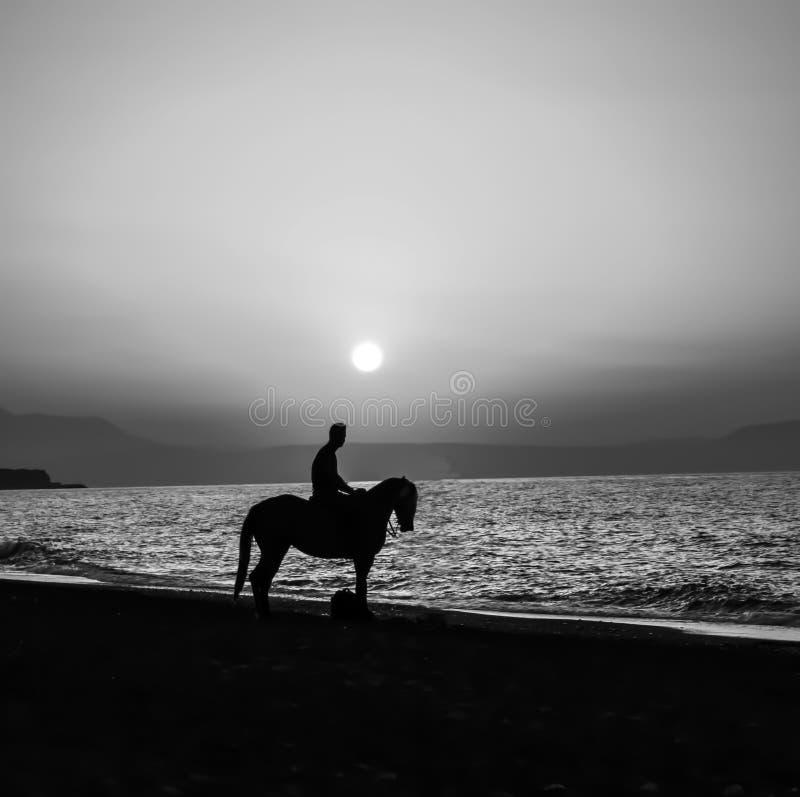 hombre en el caballo con el fondo de la puesta del sol imagen de archivo