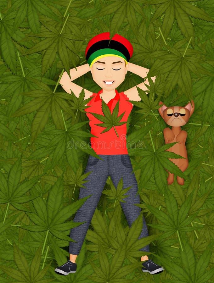 Hombre en el campo de la marijuana stock de ilustración