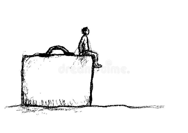 Hombre en el caso stock de ilustración