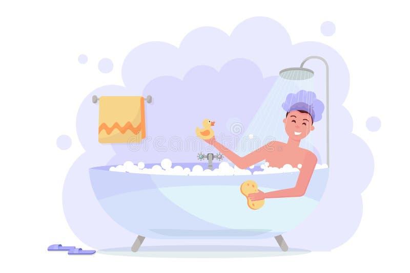 Hombre en el casquillo de ducha que toma el ba?o con la ducha Individuo divertido feliz en ba?era de la burbuja, relaj?ndose con  ilustración del vector