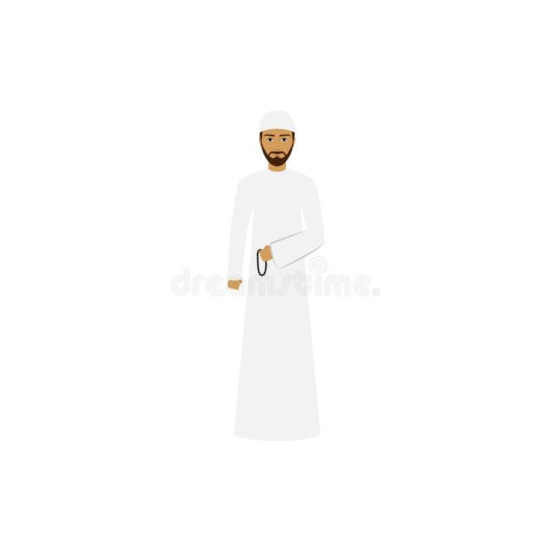 hombre en el ejemplo de color árabe nacional de la ropa stock de ilustración