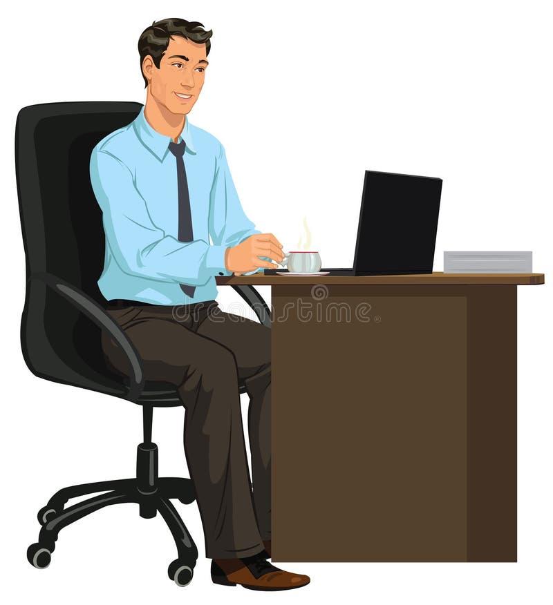 Hombre en el escritorio con el ordenador portátil fotos de archivo
