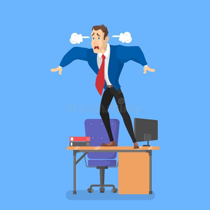 Hombre en el escritorio en pánico Trabajador cansado libre illustration