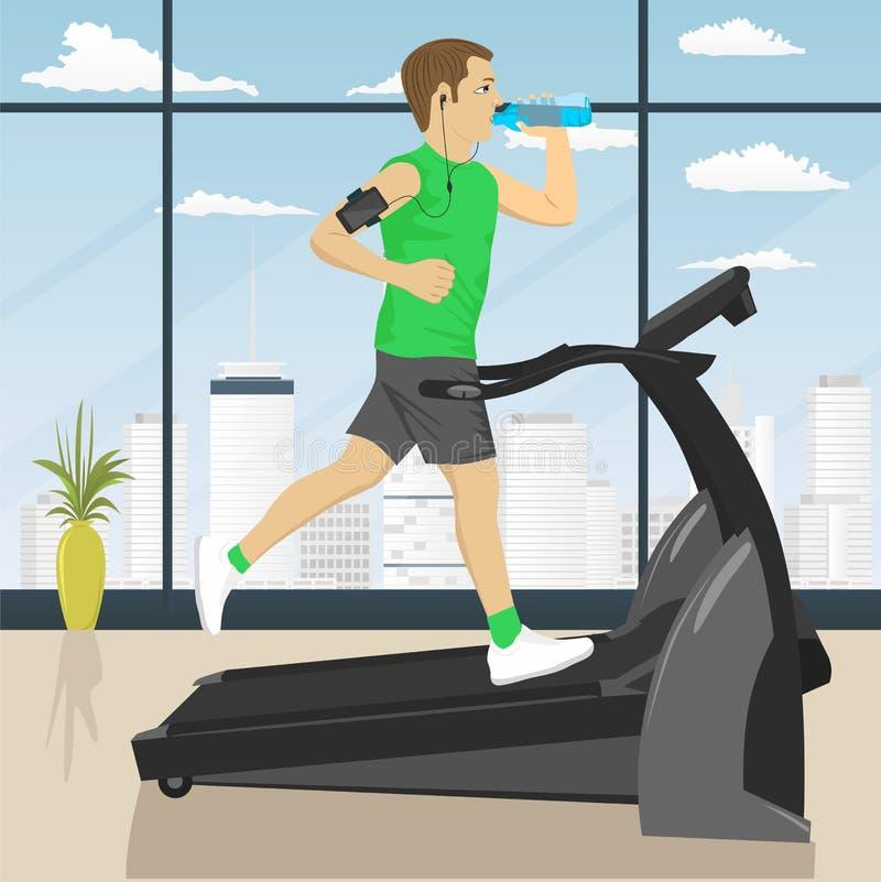 Hombre en el gimnasio que hace ejercicio en la rueda de ardilla con el agua potable del brazal del smartphone ilustración del vector