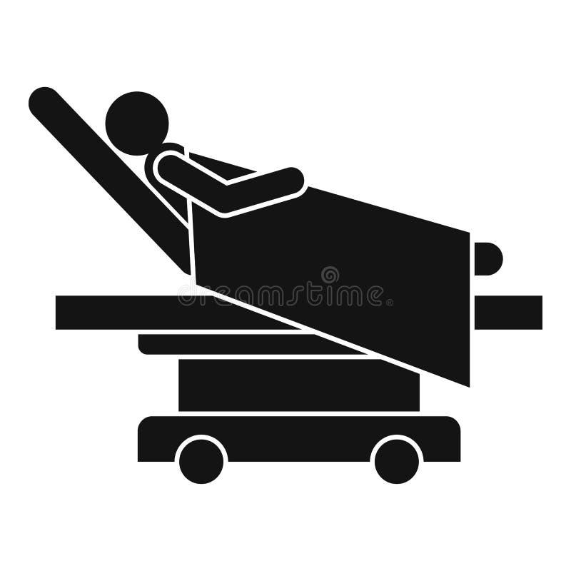 Hombre en el icono de la cama de hospital, estilo simple libre illustration
