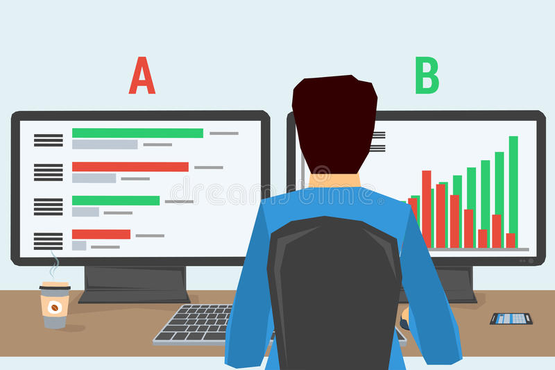 Hombre en el lugar de trabajo con dos monitores ilustración del vector