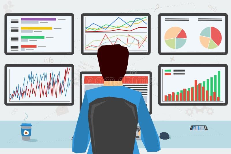 Hombre en el lugar de trabajo con seis monitores libre illustration