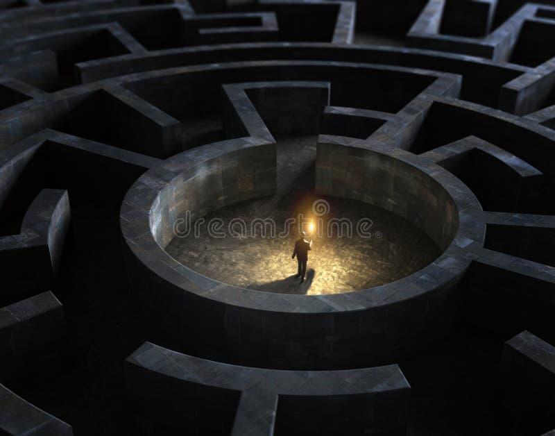 Hombre en el medio de un laberinto misterioso stock de ilustración