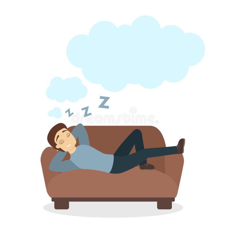 Hombre en el sofá ilustración del vector