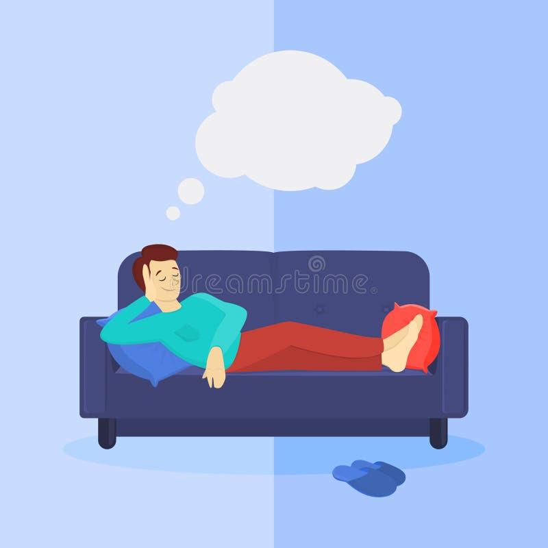 Hombre en el sofá stock de ilustración