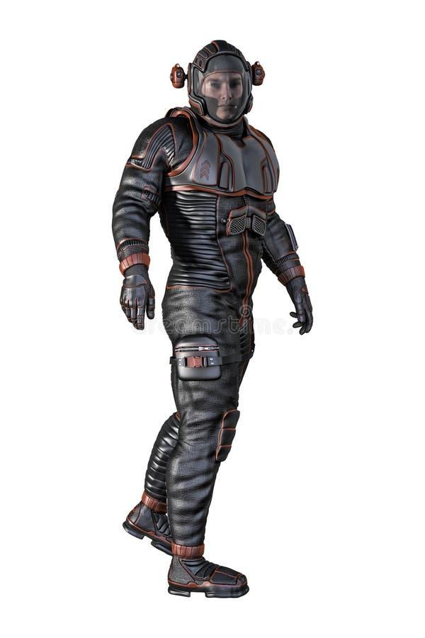 Hombre en el Spacesuit aislado ilustración del vector