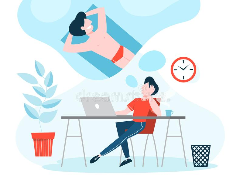 Hombre en el sueño del trabajo sobre vacaciones de verano ilustración del vector