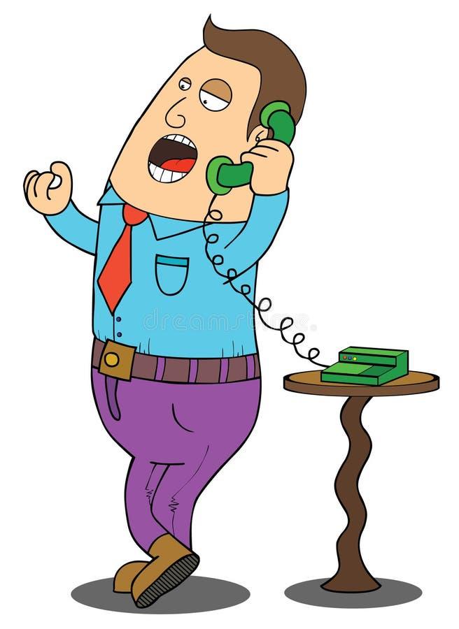 Hombre en el teléfono stock de ilustración