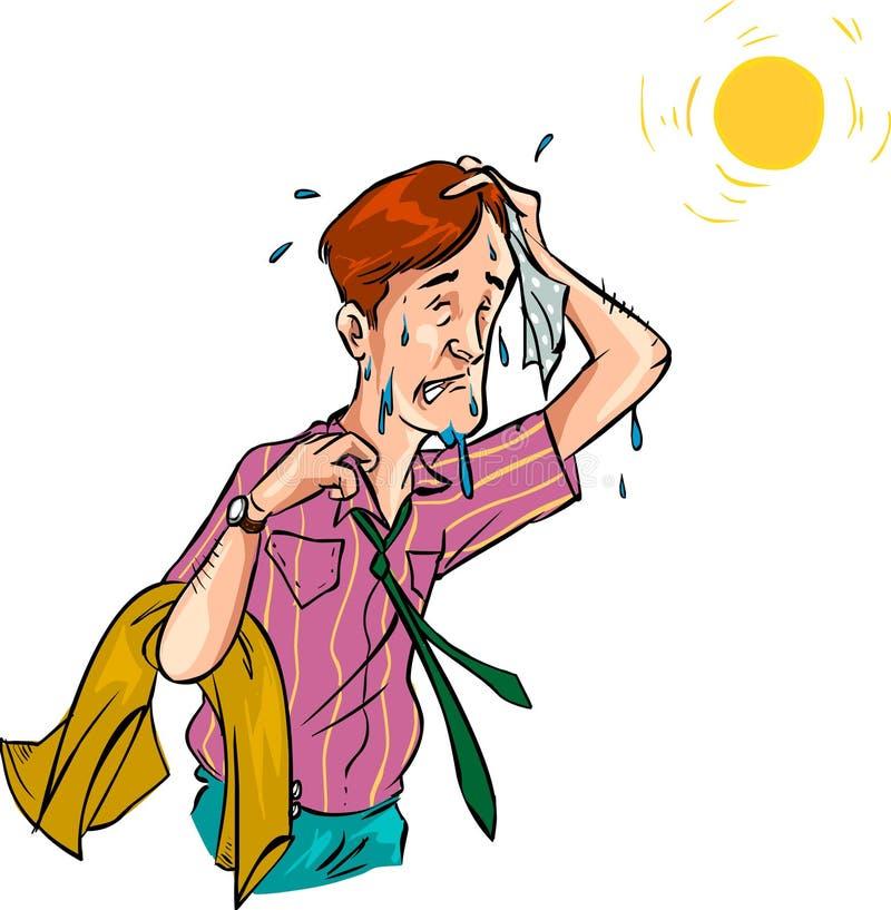 Hombre en el tiempo caliente - vector ilustración del vector