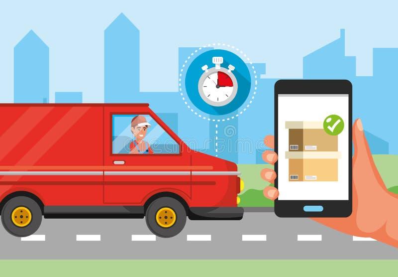Hombre en el transporte de la furgoneta y mano con servicio de entrega del smartphone libre illustration