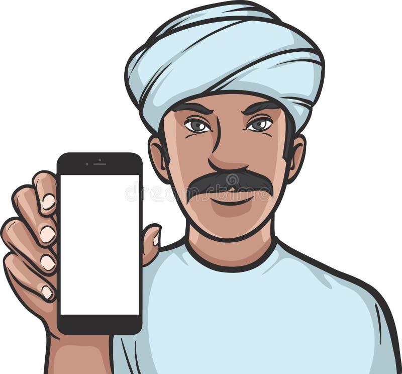 Hombre en el turbante que muestra un app móvil en un teléfono elegante stock de ilustración