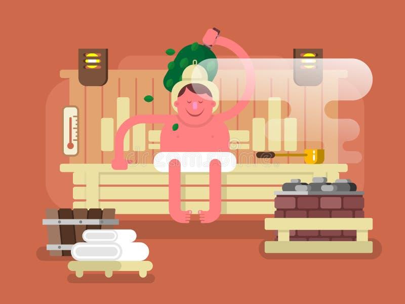 Hombre en el vapor de la sauna libre illustration