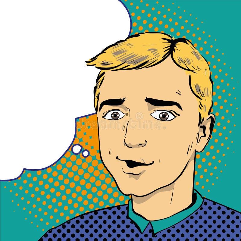 Hombre en estilo retro del arte pop de los tebeos Ilustración del vector stock de ilustración
