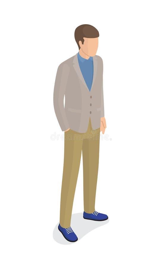 Hombre en Gray Jacket, pantalones verdes, zapatos azules stock de ilustración