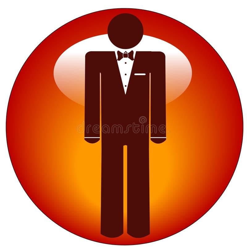 Hombre en icono del smoking en el botón ilustración del vector