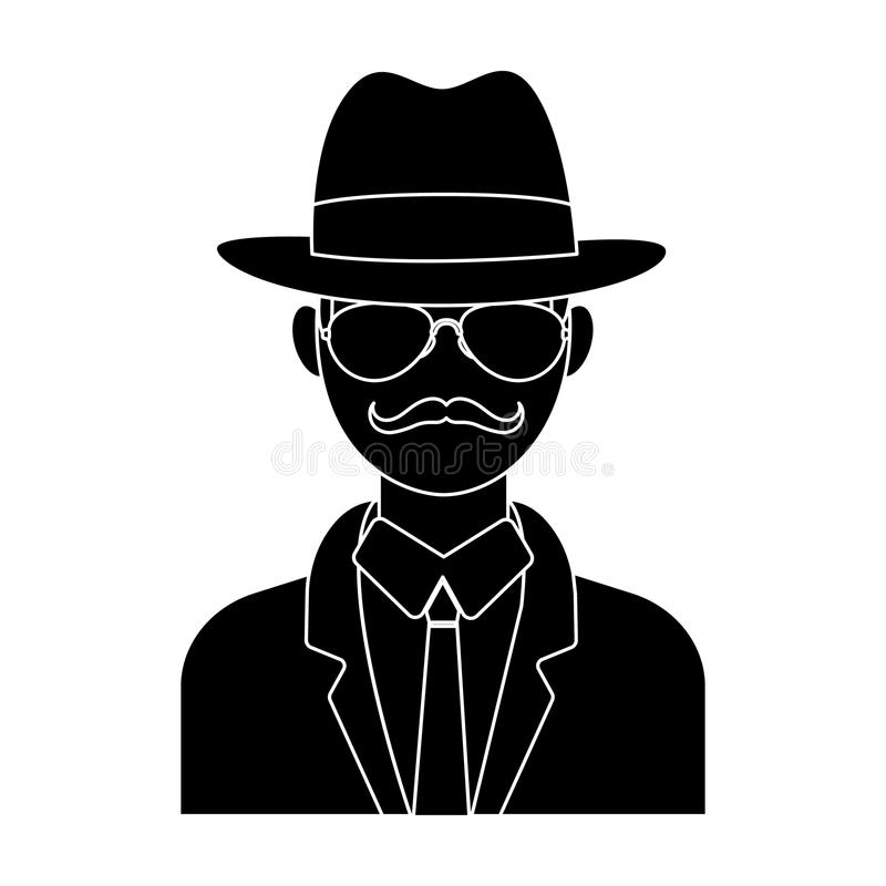 Hombre en impermeable y vidrios del traje del sombrero El detective secreto Solo icono detective en la acción del símbolo del vec libre illustration