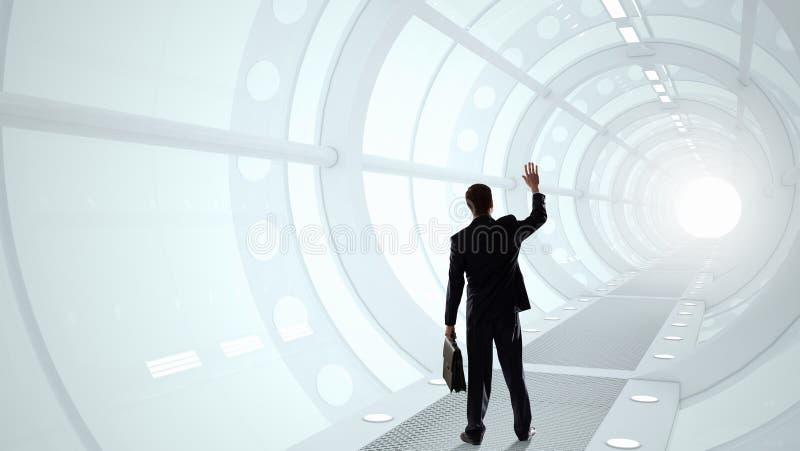 Hombre en interior futurista Técnicas mixtas Técnicas mixtas ilustración del vector
