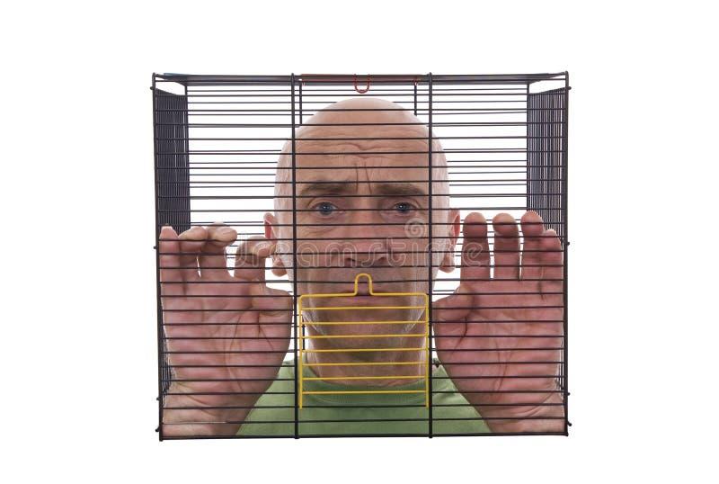Hombre en jaula fotografía de archivo