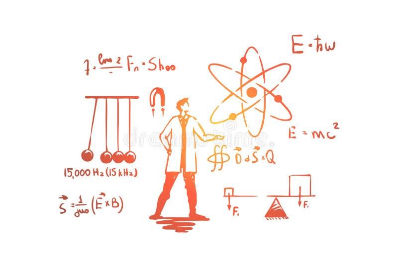 Hombre en la capa blanca, experimento de la ciencia, cuna de Newton, ecuaciones complejas, f?rmula de Einstein stock de ilustración