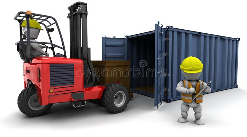 Hombre en la carretilla elevadora que carga un contenedor libre illustration