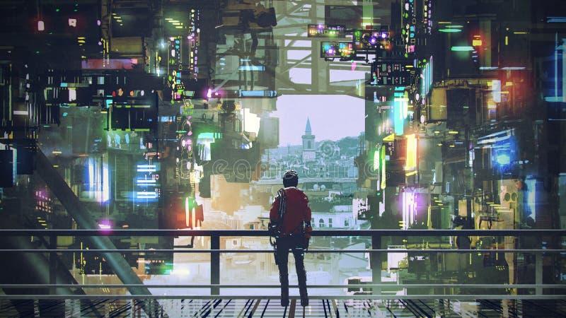 Hombre en la ciudad del Cyberpunk libre illustration