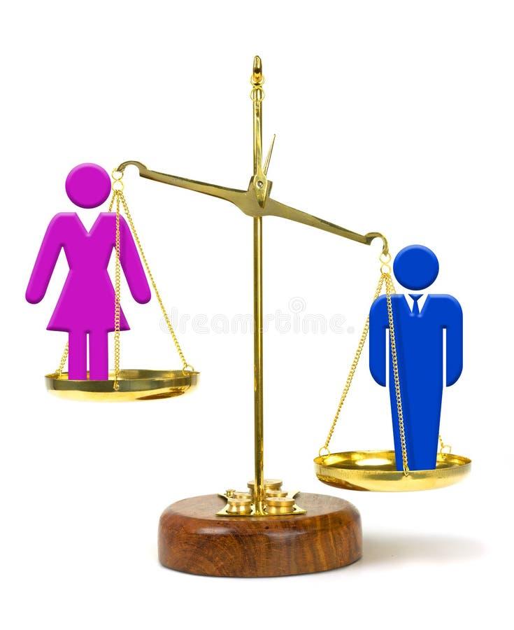 Hombre en la mujer que sobrepasa de la escala que representa la desigualdad en paga y oportunidades imagen de archivo