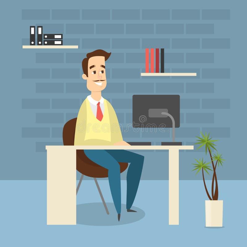 Hombre en la oficina ilustración del vector