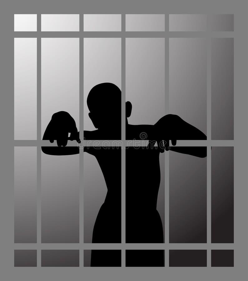 Hombre en la prisión o mazmorra oscura detrás de barras stock de ilustración