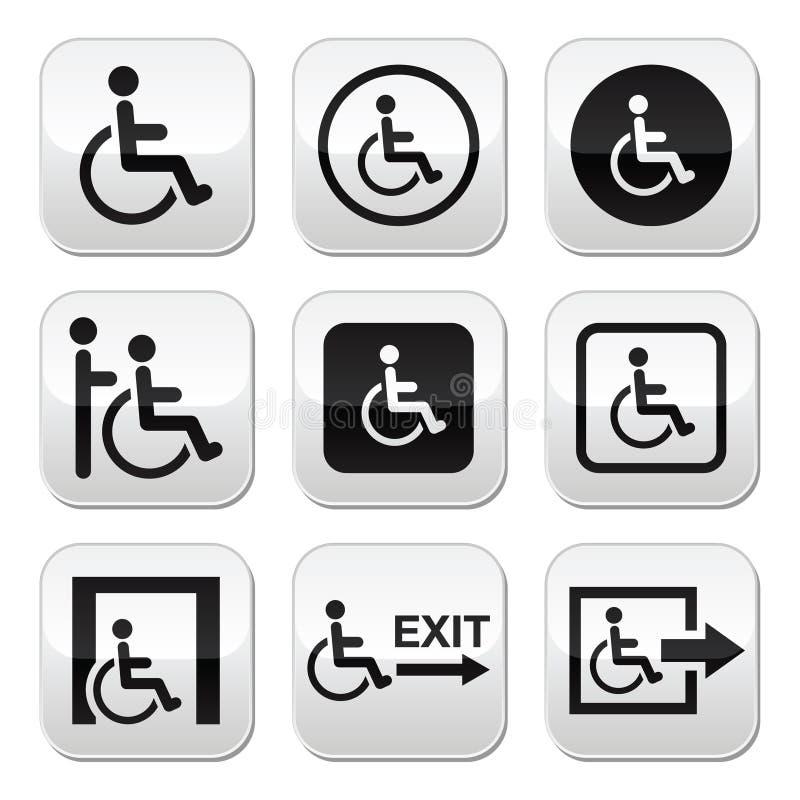 Hombre en la silla de ruedas, inhabilitada, botones de la salida de emergencia fijados libre illustration