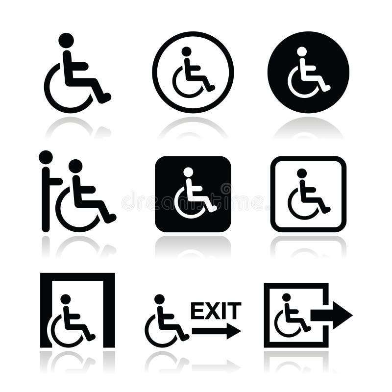 Hombre en la silla de ruedas, inhabilitada, icono de la salida de emergencia stock de ilustración