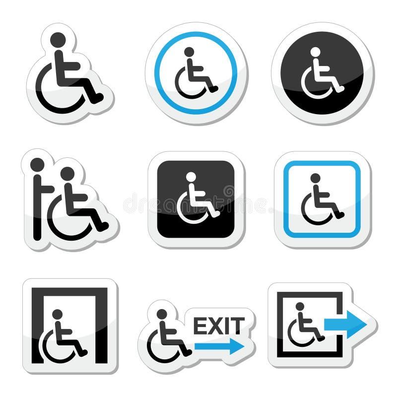 Hombre en la silla de ruedas, inhabilitada, iconos de la salida de emergencia fijados libre illustration
